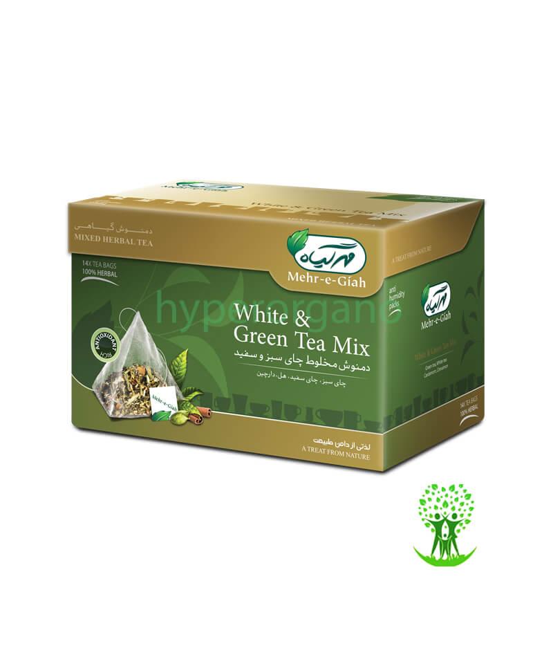 دمنوش گیاهی مخلوط چای سبز و سفید 14 عددی مهرگیاه